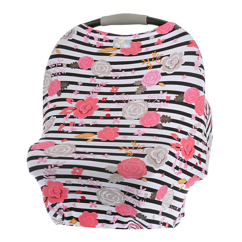 Mom Boss 4-IN-1 Multi-Use Nursing Cover and Scarf in Floral Stripe
