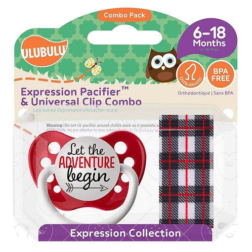 Adventure Begin Pacifier and Lumber Plaid Black Pacifier Clip Set by Ulubulu