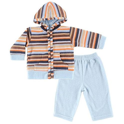 Boys Multi Stripe Fleece Hoodie & Pants Set