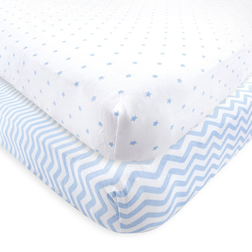 blue chevron and blue dots crib sheet fitted