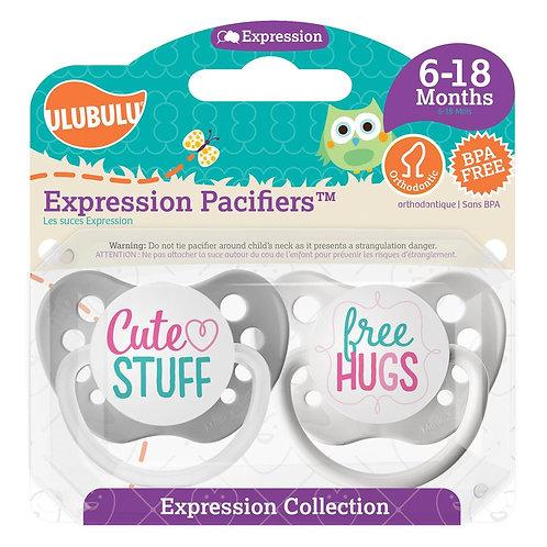 Cute Stuff & Free Hugs Pacifier Set