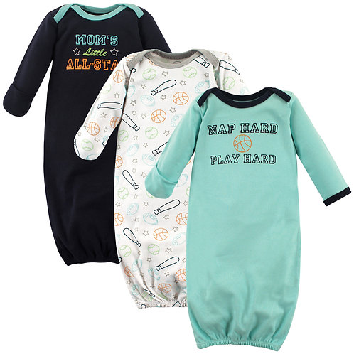 Sports 3 pack Infant Gowns by Luvable Friends