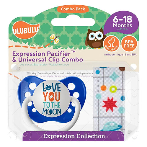 Love You to the Moon Pacifier and Clip Set by Ulubulu