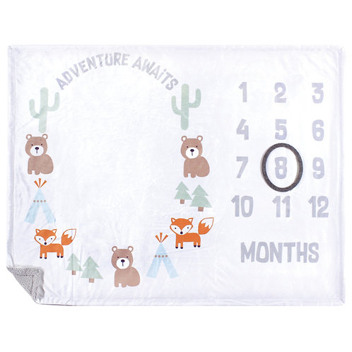 Hudson Baby Monthly Milestone Blanket, Adventure Awaits, Baby Milestones