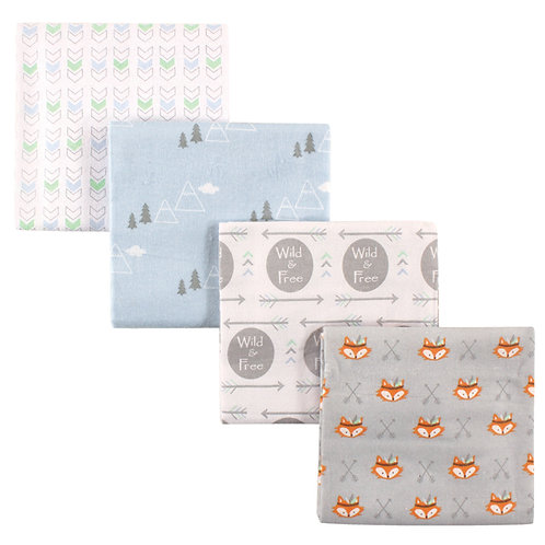 4 Pack Receiving Blankets, Fox, by Luvable Friends