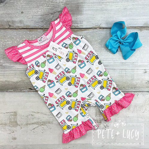 Ice Cream Party Ruffly Romper