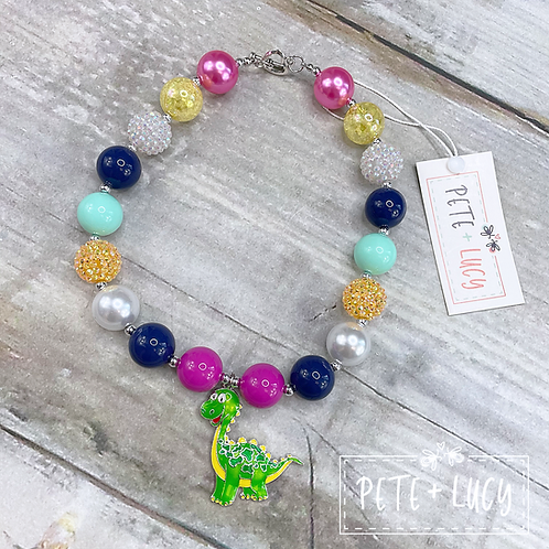 Dino Days Deluxe Bubble Necklace with Dinosaur Charm