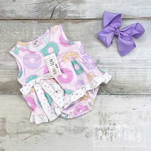 Donut Worry Be Happy Collection, Girls Donut Romper, Matching sister outfits