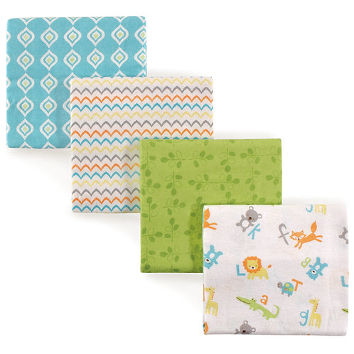 4 Pack Receiving Blankets, Alphabet, by Luvable Friends