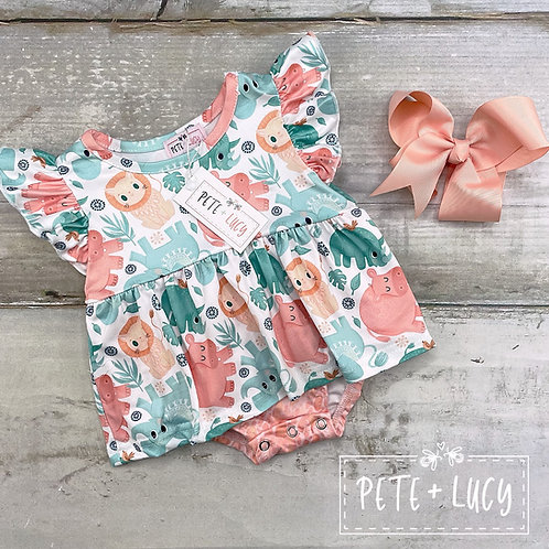 Sweet Safari Collection, Baby Girl Romper by Pete + Lucy