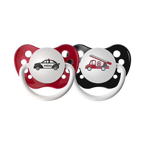 Police Car and Firetruck Pacifier Set, Emergency Responders, red and black