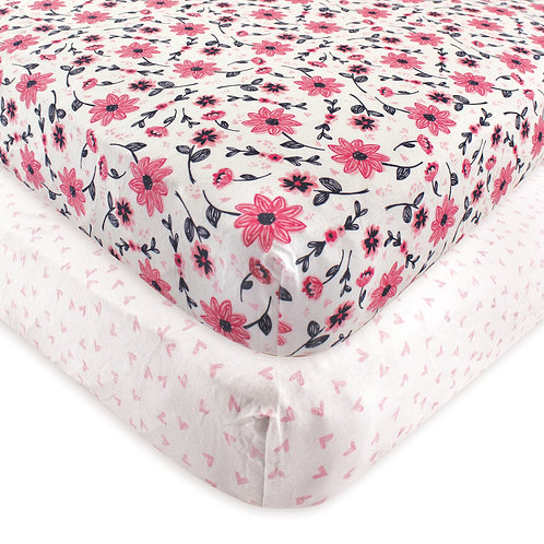 Hudson Baby Botanical Crib Sheet 2 pack fitted
