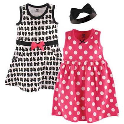 3 Pc Dress & Headband Set, Bows