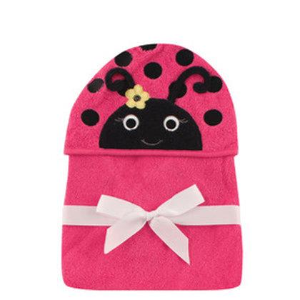 Hudson Baby Miss Ladybug Animal Face Hooded Towel