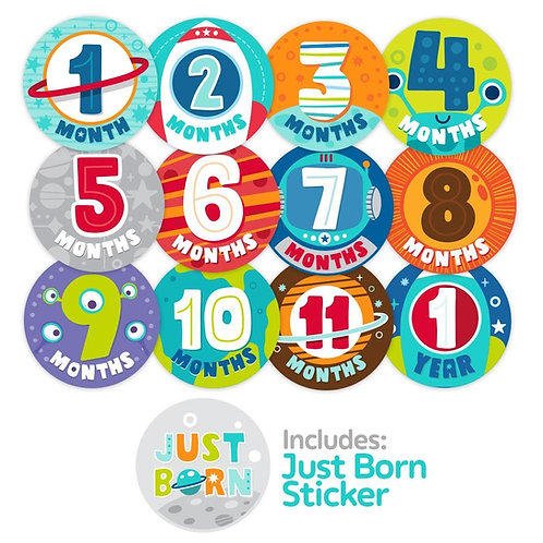 All 13 space design milestone stickers by Ulubulu