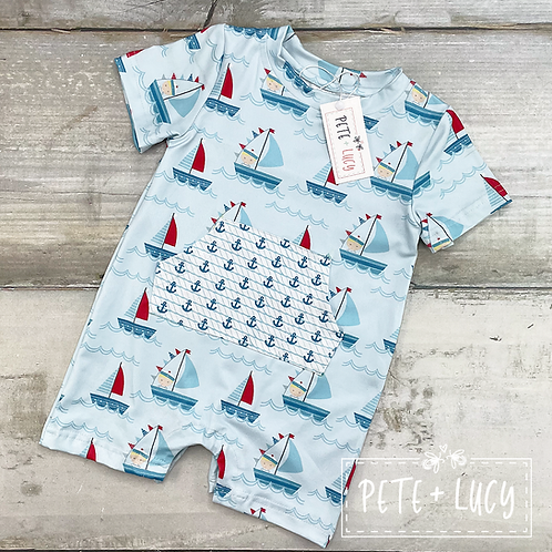 Ahoy Maties Infant Romper by Pete + Lucy