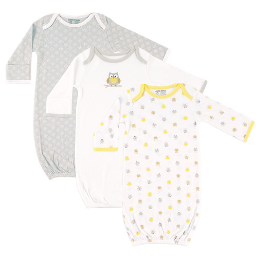 Yellow Owl 3 Pack Infant Gowns by Luvable Friends