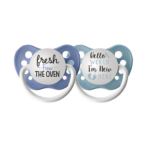 Fresh From the Oven / Hello World I'm New Here Pacifier Set