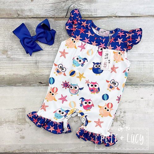 Nauticowl Ruffly Romper by Pete + Lucy