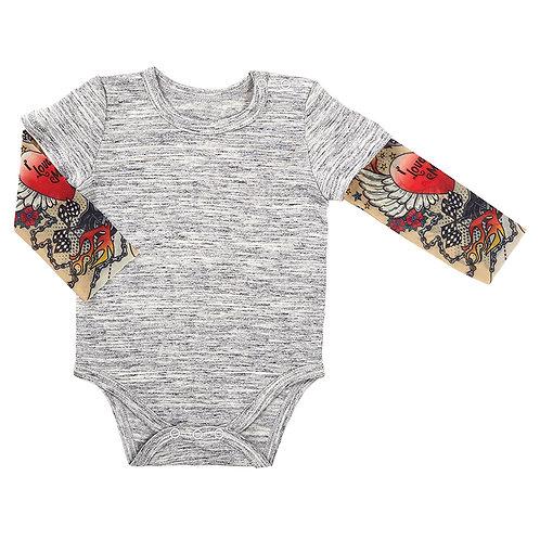 Stephan Baby Tattoo Sleeve Snapshirt for Baby - Grey