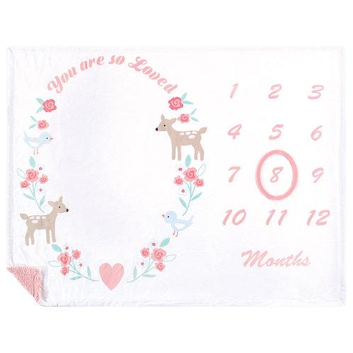 Hudson Baby Monthly Milestone Blanket, Girl Woodland, Baby Girl