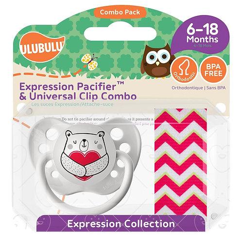 Heart Bear Pacifier & Pink Chevron Clip by Ulubulu
