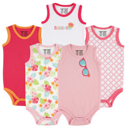 Sleeveless Bodysuits, 5 Piece for Baby Girl