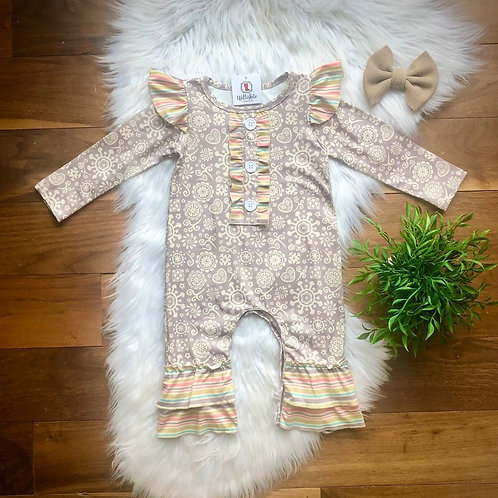 Muted Rainbow Stripes Girls Infant Romper