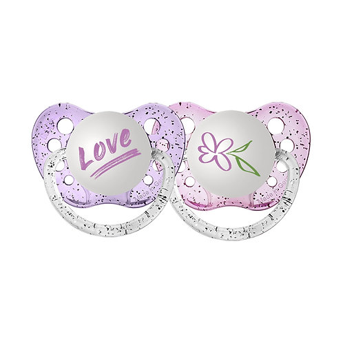 Love and Flower Pacifier Set, pink and purple glitter