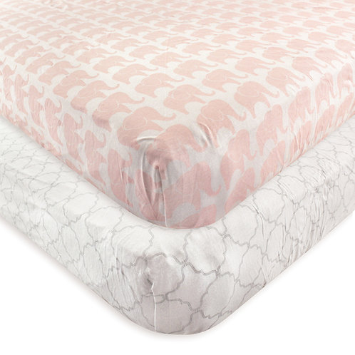 Hudson Baby Pink Elephant Crib Sheets