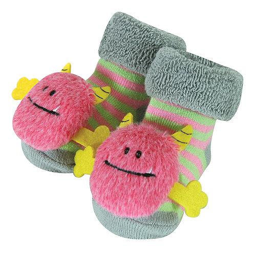 Stephan Baby Pink Monster Rattle Socks