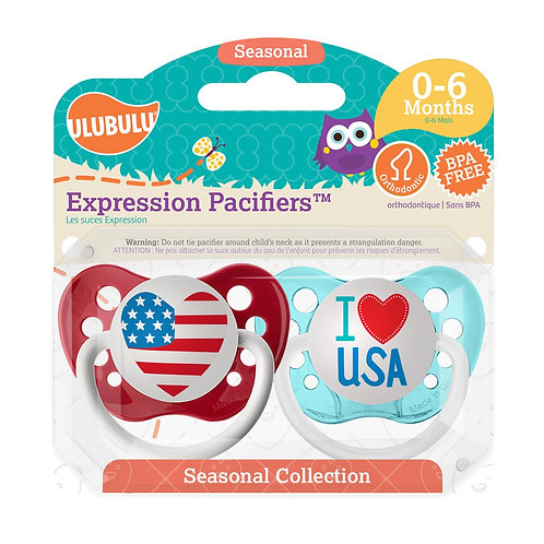 American Heart & I Love USA Pacifier Set