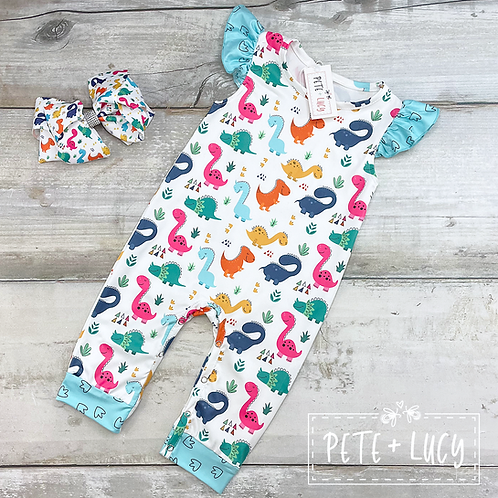 Dinosaur Baby Girls Romper by Pete + Lucy, Dino Days Collection