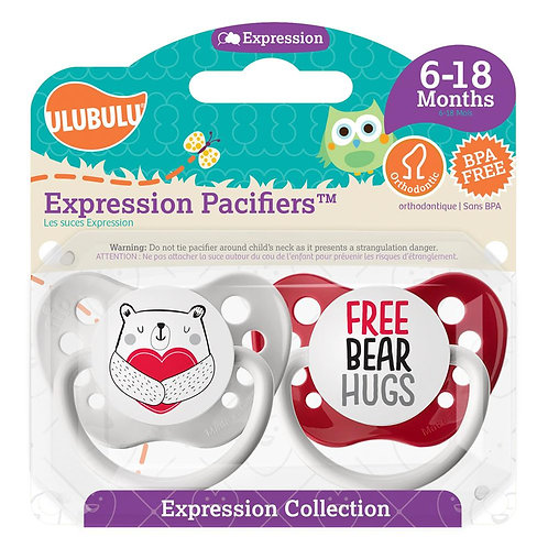 Heart Bear & Free Bear Hugs Pacifier Set