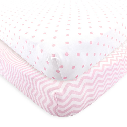 Pink Chevron & Pink Dots Crib Sheets fitted
