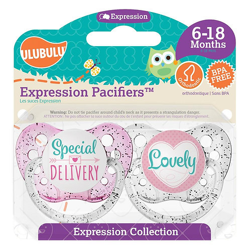 Special Delivery & Lovely Pacifier Set for Baby Girl