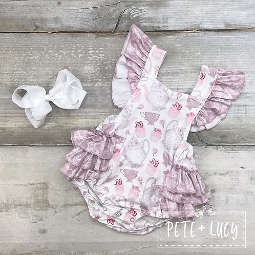 Vintage Tea Party Collection Ruffle Romper by Pete + Lucy