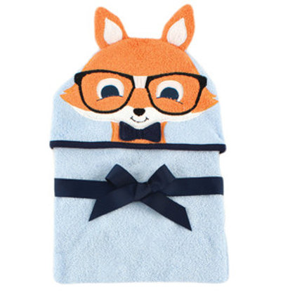 Hudson Baby Nerdy Fox Animal Face Hooded Towel