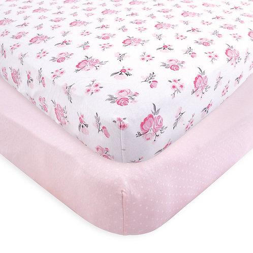 Hudson Baby Pink Floral Crib Sheet