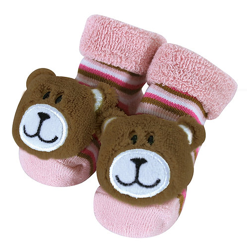 Stephan Baby Pink Bear Rattle Socks