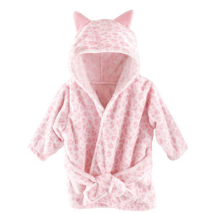 Hudson Baby Pink Leopard Plush Hooded Bath Robe for Baby Girl