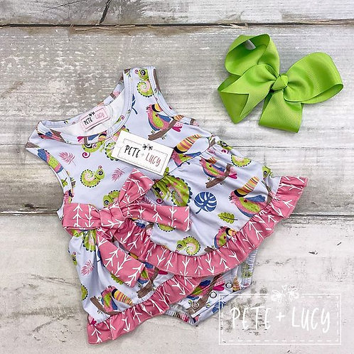 Tou Can Do It Infant Bow Ruffle Romper