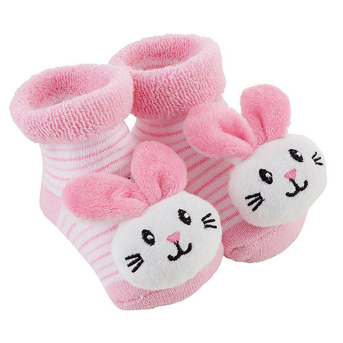 Stephan Baby Pink Bunnie Rattle Socks