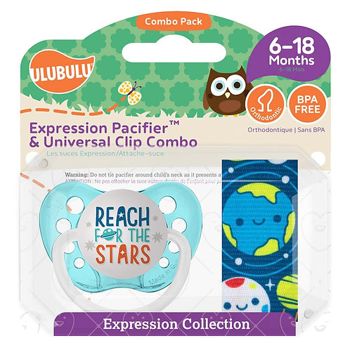 Reach for the Stars Pacifier and Clip Set by Ulubulu
