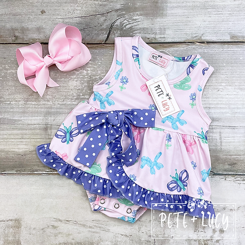 Balloon Animal Infant Bow Ruffle Romper by Pete + Lucy