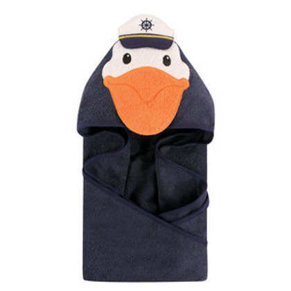 Hudson Baby Captain Pelican Animal Face Hooded Towel