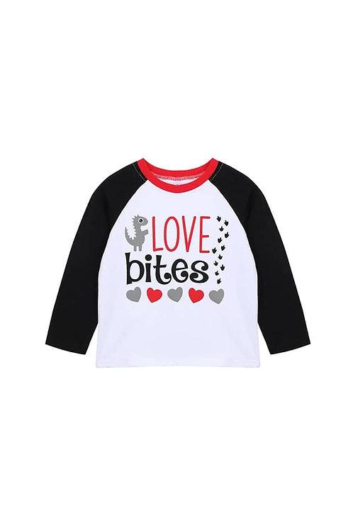 Love Bites Toddler Tee, Valentine's Day baseball style tee