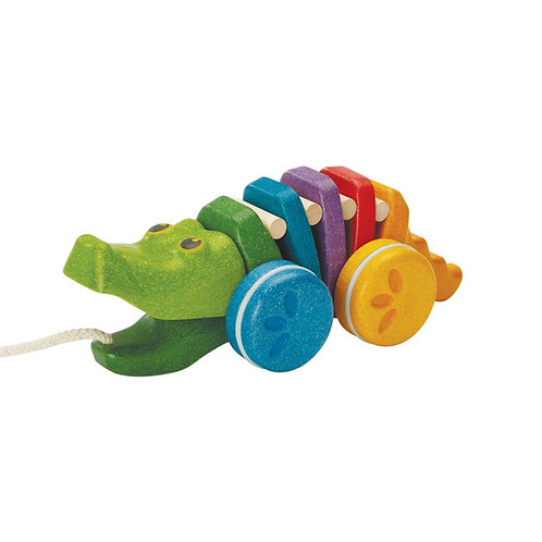 Plan Toys Rainbow Alligator, Push and Pull Alligator on a String