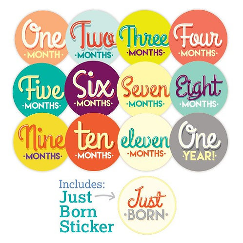 Age Milestone Stickers for Baby, Ulubulu, Handwritten Design