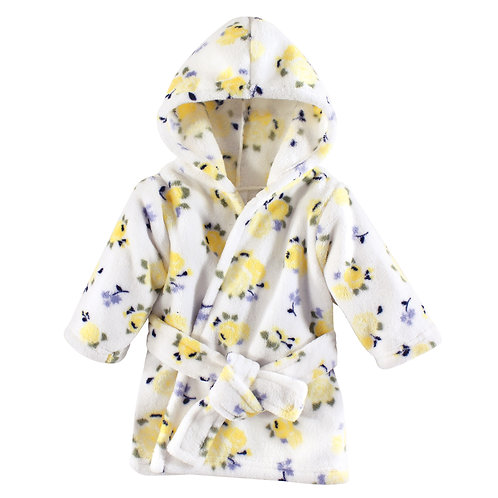 Luvable Friends Coral Fleece Hooded Robe, Yellow Floral